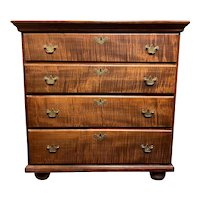 18th c Tiger Maple Chest of Drawers Adapted From a Highboy Top