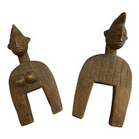 Pair of Vintage West African Hand Carved Heddle Pulls of Man and Woman