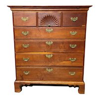 18th c Tall Chest Converted from a Highboy Top with Fan Carving