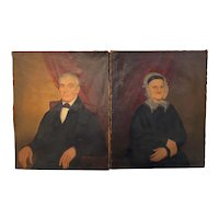 Joseph Goodhue Chandler Pair of Oil Painting Portraits of Capt Eber & Ester Lee 1847