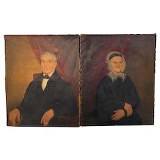 Joseph Goodhue Chandler Pair of Oil Painting Portraits of Capt Eber & Ester Lee 1847