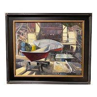 Mike MacLean New England Impressionist Oil Painting, Boat Shop Morning