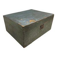 19th c Wooden Dovetailed Document Box with Unusual Interior, in Old Blue Paint