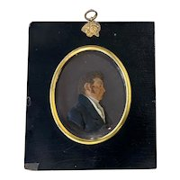 Early 19th c Miniature Mounted & Signed Wax Profile of a Gentleman