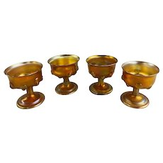 Four Iridescent Tiffany Studios Art Glass Footed Sherbert Cups with Tendrils