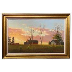 Don Koestner Oil Painting Landscape at Sunset, Abandoned Farm 1987