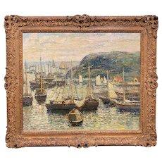 Paul Bernard King Impressionist Oil Painting, Coastal Harbor Scene with Boats