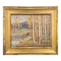 Paul Bernard King Oil Painting, Woodland Scene with Birch Trees, Stony Brook