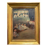 Walter Farndon Impressionist Oil Painting, Band Concert, with Estate Stamp