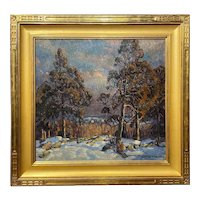 William Lester Stevens Oil Painting Winter Landscape with Trees