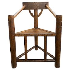 Pilgrim Century Style Carved Oak Turner's Corner Chair