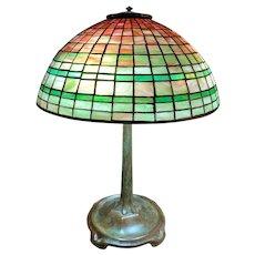 Fine Tiffany Studios Table Lamp with Geometric Leaded Glass Shade