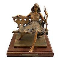 George W. Lundeen Cast Bronze Sculpture of a Woman, Heart on a Swing 361/1000