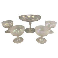Steuben Verre de Soie Glass Wheel Etched Compote & 4 Sherberts Signed Hawkes