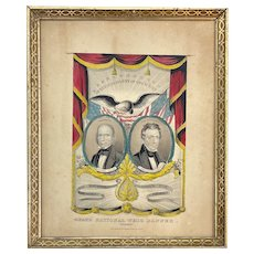 1844 N. Currier Lithograph of the Whig Presidential Party Ticket with Henry Clay & Frelinghuysen