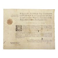 1727 Massachusetts Bay Military Commission Signed by Lt. Governor William Dummer