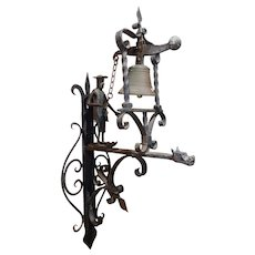 Continental Wrought Iron Wall Mount Figural Door Bell