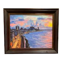 Yordan Duke Lazo Cuban Impressionist Landscape, Havana Sunset