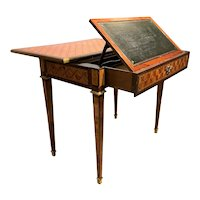 Signed Continental Fruitwood Metamorphic Parquetry or Mechanical Table / Desk
