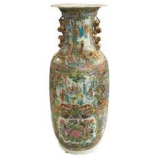 19th Century Chinese Porcelain Rose Medallion Palace Size Baluster Form Vase