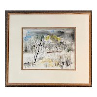 William Thon Abstract Watercolor Landscape Painting, Crow Island Maine 1953
