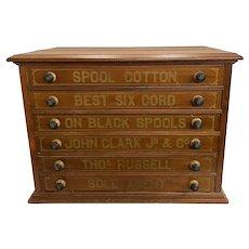 Early 20th c John Clark Jr & Co Six Drawer Walnut Spool Cabinet, Thos Russell Sole Agent