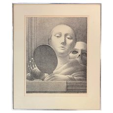 George Tooker Limited Edition Surrealist Lithograph, Mirror 1978, 58/125