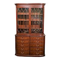 Custom Mahogany Ten Drawer China Cabinet / Bookcase for Beacon Hill by Kaplan