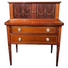 Bussolini Brothers Custom Mahogany Tambour Desk, circa 1940s