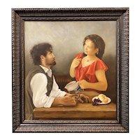 Mary Phillips Figural Genre Oil Painting, The Samaritan Woman at Bonhoeffer's Cafe