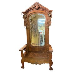 Early 20th c Large Oak Mirrored Hall Tree with Seat