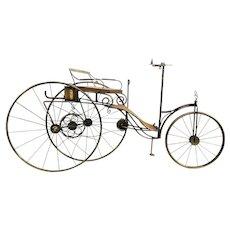 "Curtis Jere Style Brassed Metal & Wooden Sculpture of Karl Benz First Car ""Motorwagen"" from 1886"