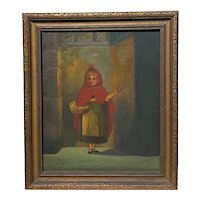 """19th c Oil Painting of Children's Book Character """"Little Red Riding Hood"""""""