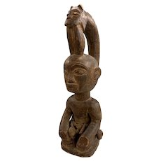 African Tribal Carved Wooden Figure with Leopard, Probably Congo