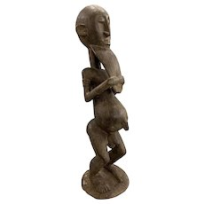 African Tribal Carved Hardwood Figure of a Man with Beard, Probably Baule