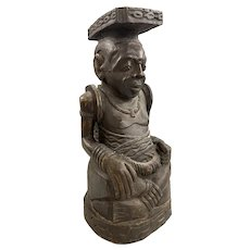 African Carved Wooden Seated Tribal Figure, Possibly Congo