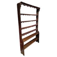 Rare 19th Century English Oak Stepback Pewter Shelf