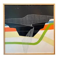 Christopher Myott Modernist Abstract Landscape Oil Painting, Box Canyon: Blue, Tang, Pale Yellow, Lime