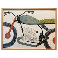 Christopher Myott Modernist Abstract Oil Painting of a Motorcycle, Bultaco