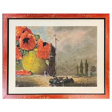 Varujan Boghosian Abstract Mixed Media Collage of Poppies & A Boat