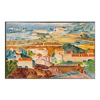 Peter Winslow Milton Impressionist  Landscape Oil Painting, Rooftops in Hillside #1