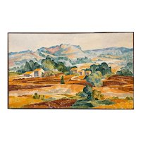 Peter Winslow Milton Impressionist  Landscape Oil Painting, Rooftops in Hillside #2
