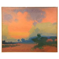 Peter Winslow Milton Oil Painting, Abstract Landscape with Pink Sky #1