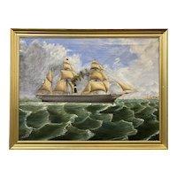 D. Lyle Oil Painting Ship Portrait, City of Glasgow, 1852