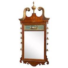 Federal Mahogany Mirror with Broken Arch Top & Eglomise Panel