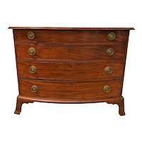 Chippendale Mahogany Bow Front Four Drawer Chest with Ogee Bracket Base