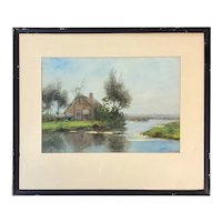 Jan Hillebrand Wijsmuller Dutch Watercolor Riverscape Painting with House