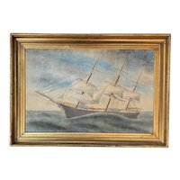"""19th Century Watercolor Painting Ship Portrait of the Sailing Ship or Schooner """"Rover"""""""