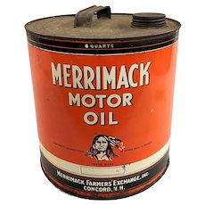Vintage Merrimack Farmers Exchange 8 Quart Motor Oil Can with Native American, Concord NH