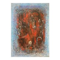 Mid Century Abstract Oil Painting in Blues and Reds, Illegibly Signed